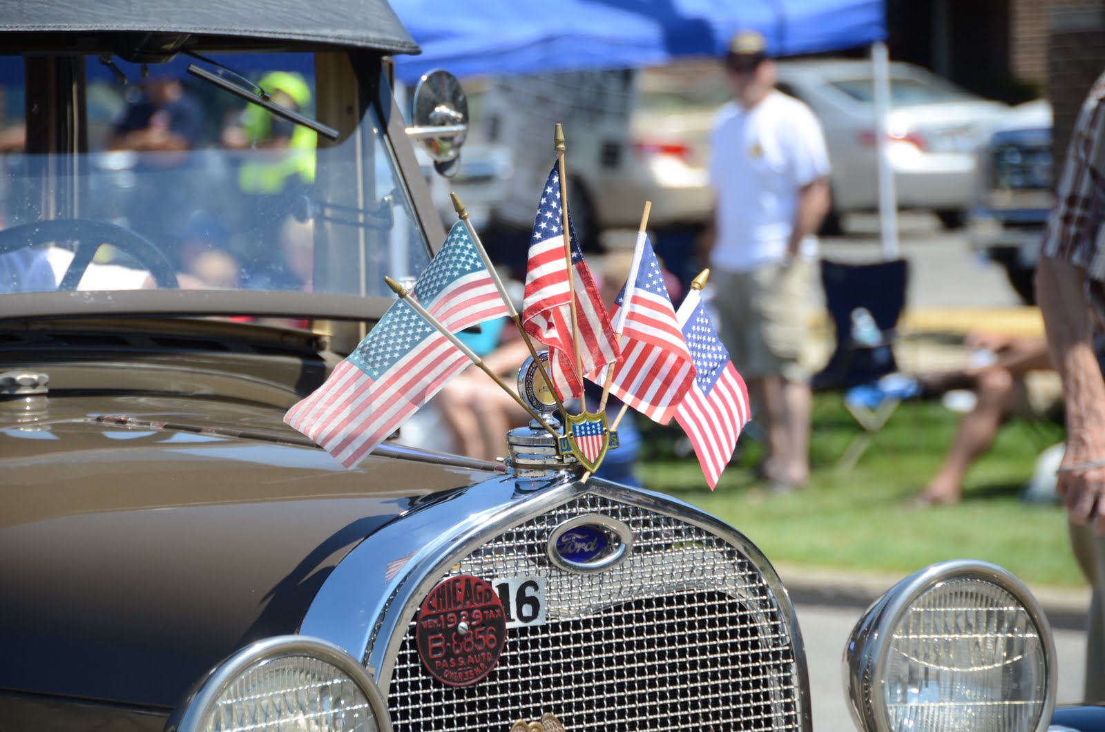 4th of July Flags on Vintage Car in Parade