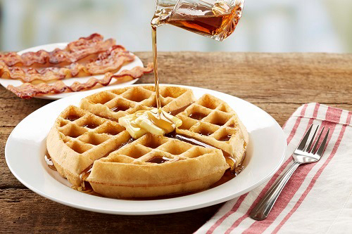 Waffle Breakfast with bacon