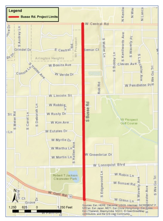 Busse Road Project Limits 2017